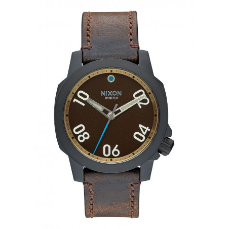 Montre NIXON Ranger 40 Leather All Black Brass