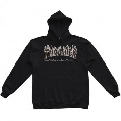 Sweat THRASHER Flame Logo Black Black