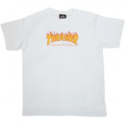 T-shirt Kid THRASHER Flame Logo White